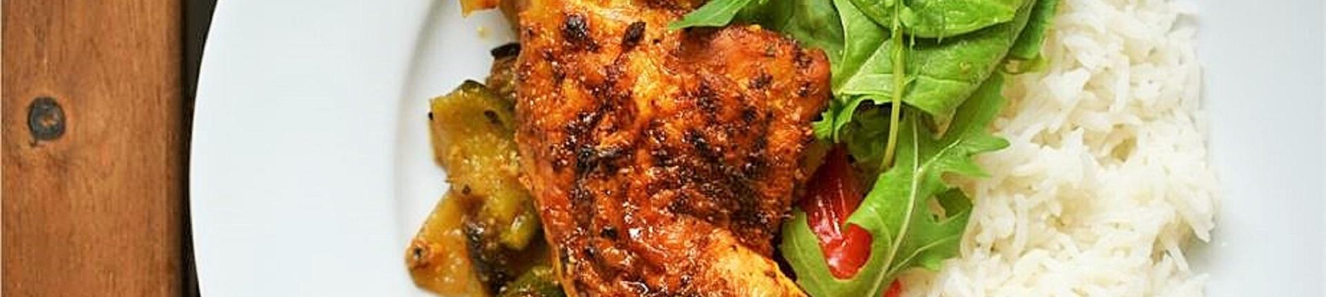 Pieczone nogi kurczaka z warzywami