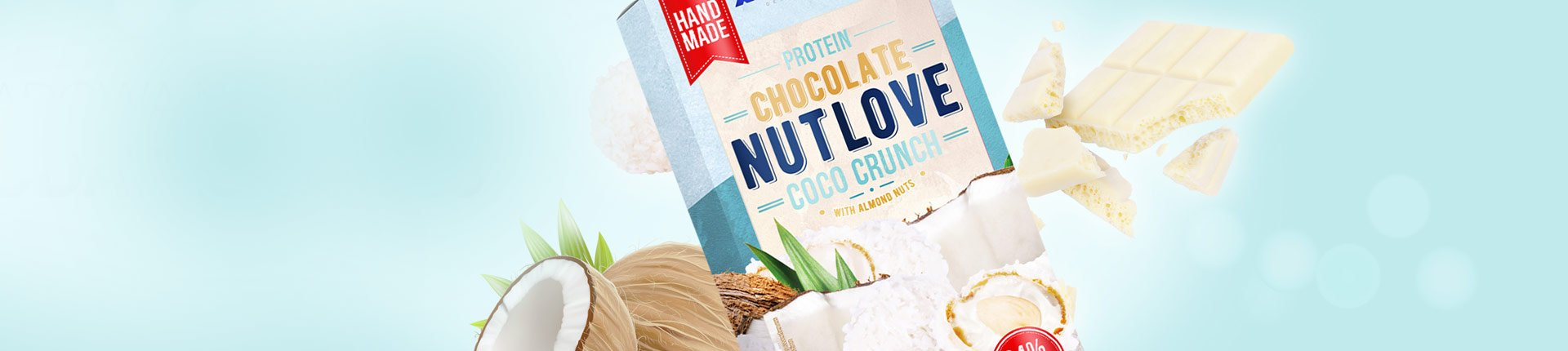 Pyszna białkowa biała czekolada bez cukru - PROTEIN CHOCOLATE NUTLOVE