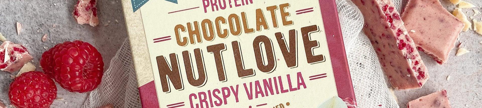 Biała czekolada z pysznymi malinami i dodatkiem białka